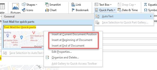 quick parts location outlook