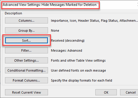 advanced sorting feature in outlook