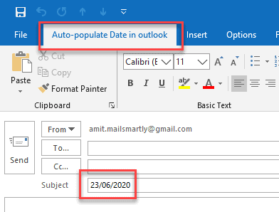 autofill subject line in outlook