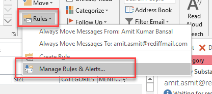 how to automatically send emails to a folder