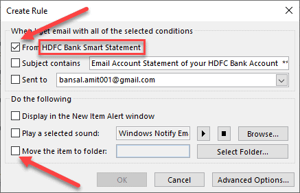 how to make emails go to a specific folder outlook