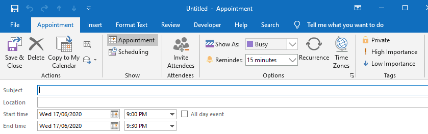 outlook appointment vs meeting