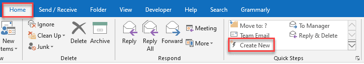 outlook quick steps subject