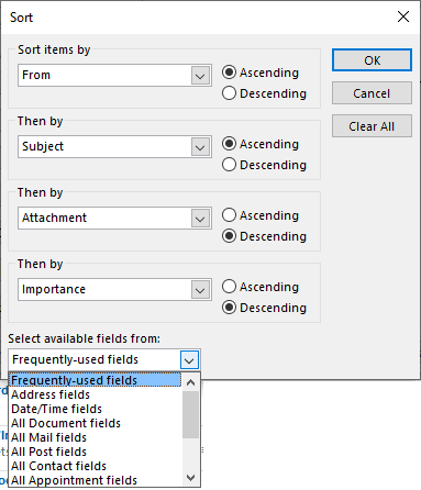 word cannot sort fields in the selection