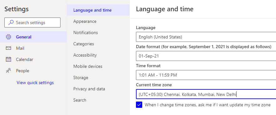 Change the Time Zone in Outlook Web App