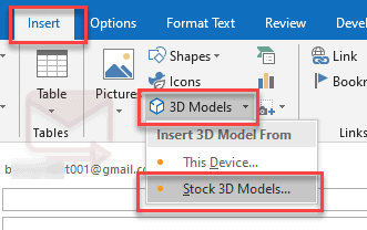 How outlook insert 3d model