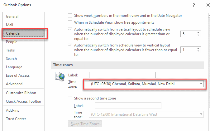 How to change time in outlook email