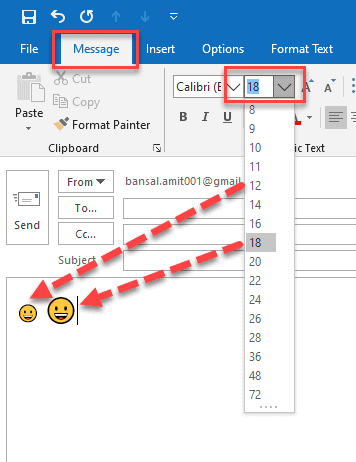 how to increase the size of emoji in outlook