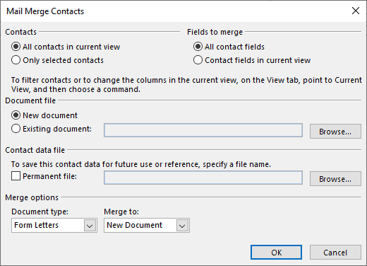 mail merge contacts outlook