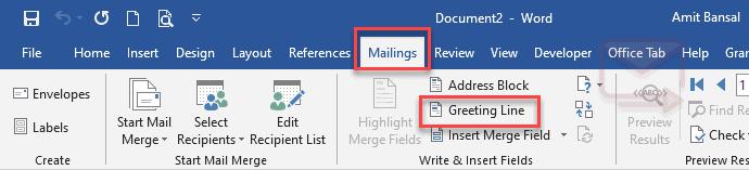 mailing tab greeting line