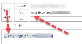 mention work in outlook