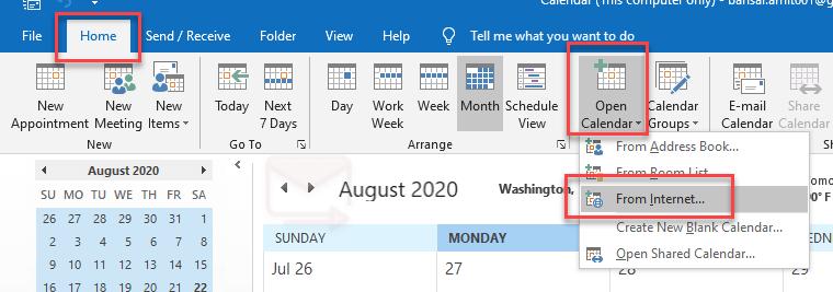 Google Calendar address