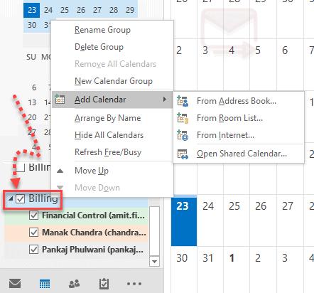 Group Calendar in Outlook