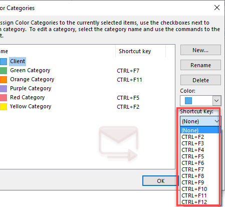 How to Assigned Outlook Categories Shortcut Key