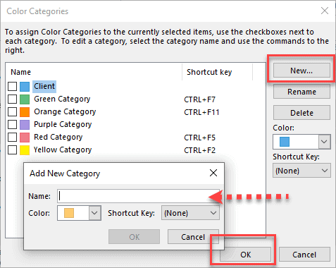 How to Assigned Outlook Categories