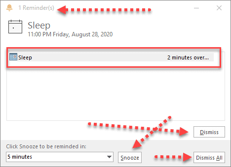 Outlook Calendar Reminder Notification
