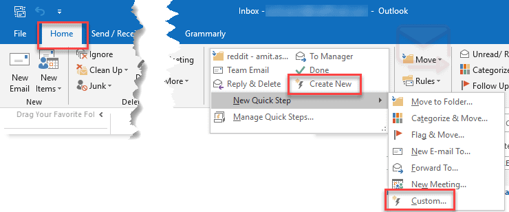 Outlook Quick Step Email Template