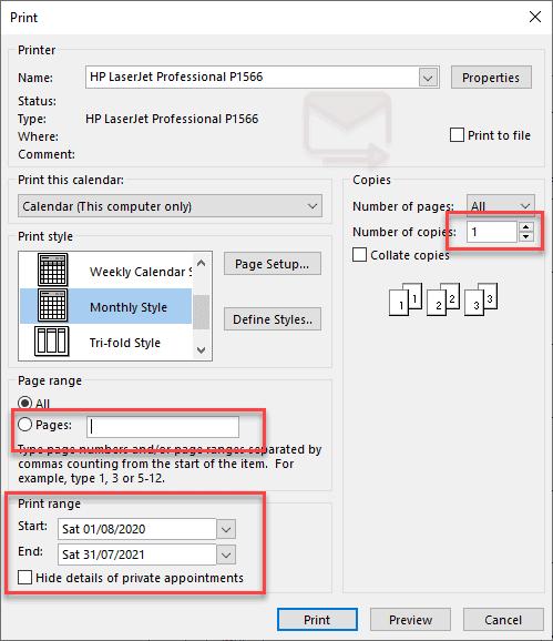 Print dialog box Outlook