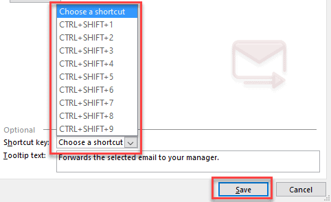 add action quick action outlook