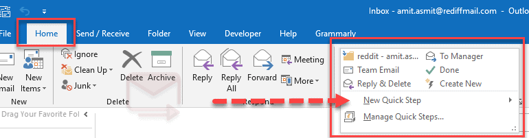 outlook quick steps email