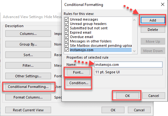 Conditional Formatting button Outlook