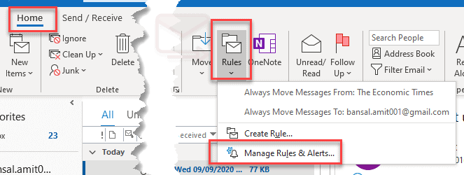 Create a read receipt rule