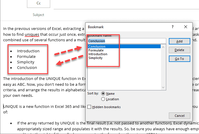 How I link to a bookmark in my Outlook Email