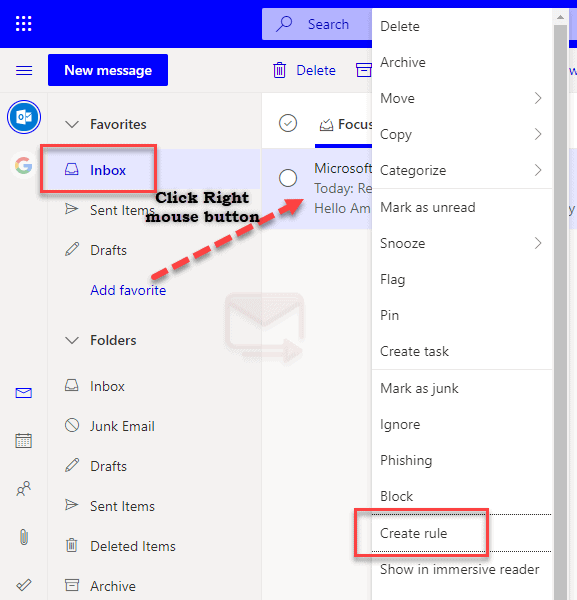 How To Create Rule in Outlook Web