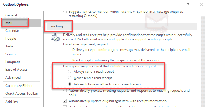 How to disable read receipts Outlook