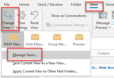 Manage view outlook