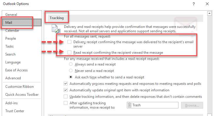Outlook options tracking