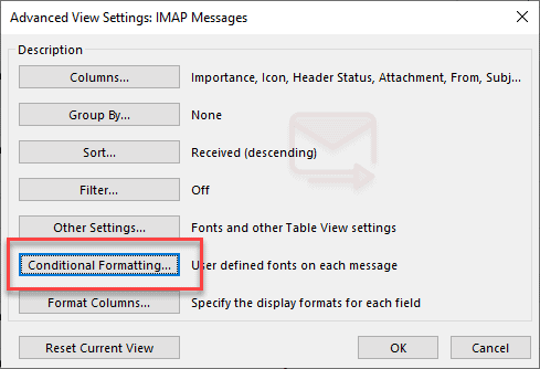 incoming Outlook messages having specific word