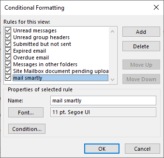 outlook conditional formatting