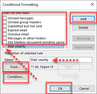 outlook table conditional formatting