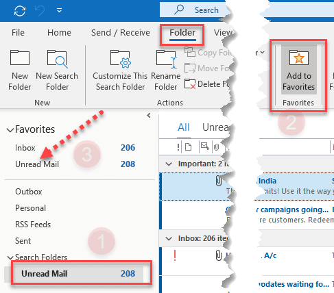 How To Create Unread Mails Folder In Outlook