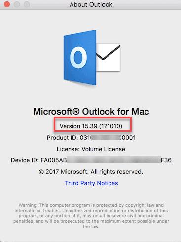 Outlook mac version