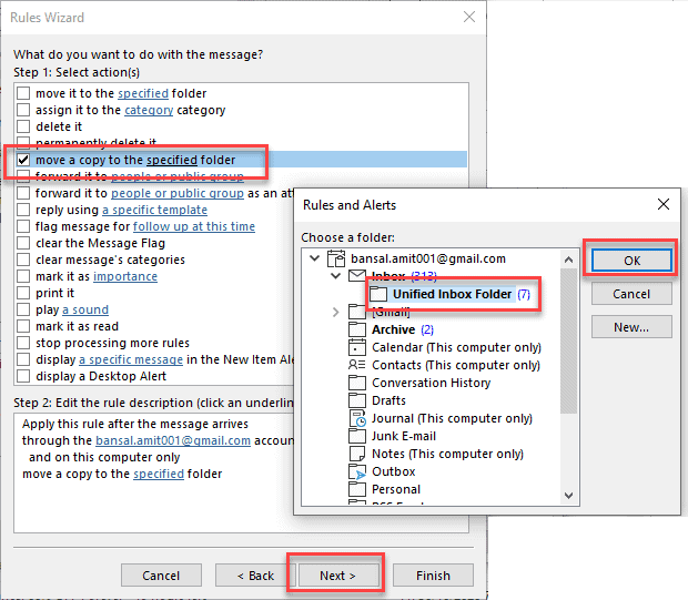 Select move a copy to a specific folder