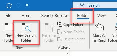 add unread folder in outlook