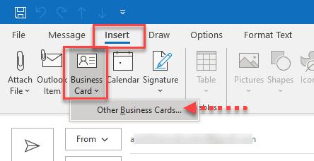 insert business card outlook