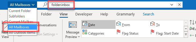 merge Outlook accounts into one using Search Method
