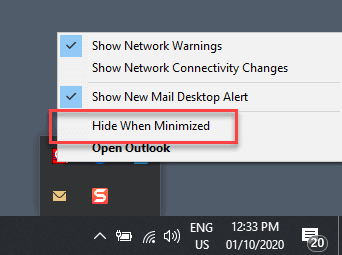 outlook closes when minimized