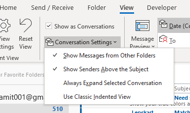How to change conversation settings in Outlook