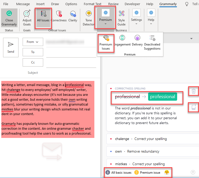 How to use Grammarly add-in in Outlook
