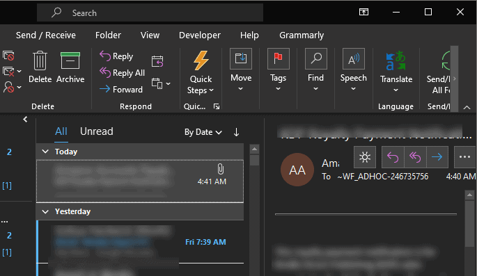 Outlook Black Theme