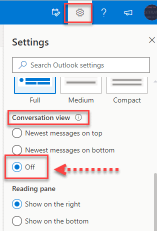 Steps to disable conversation view in Outlook.com