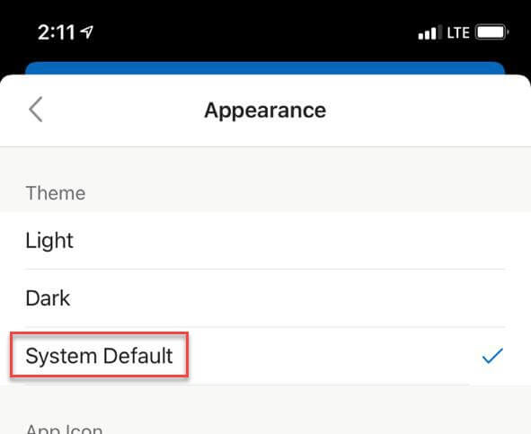 system default iPhone