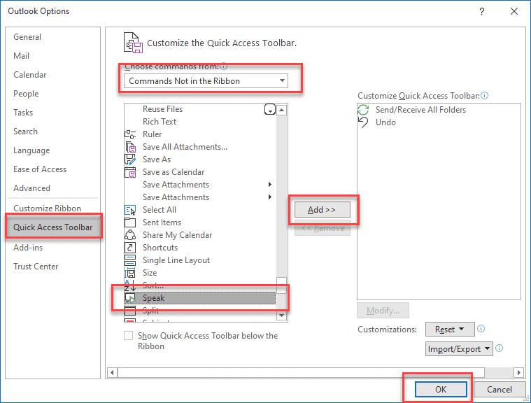 Add Speak to Quick Access Toolbar