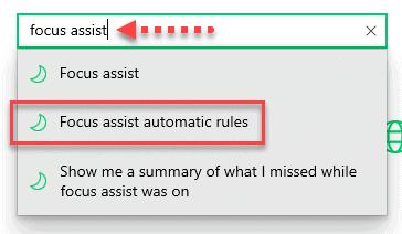 Focus Assist Automatic Rule