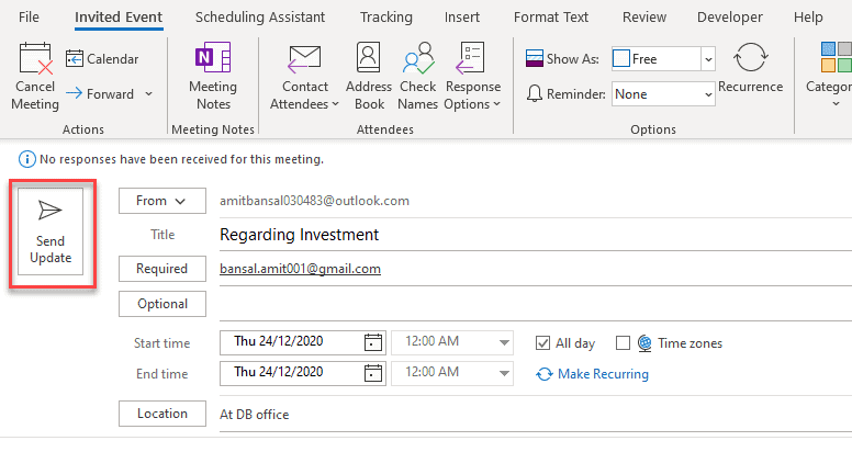 How to reschedule meeting time in Outlook