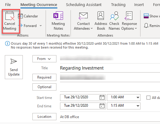 Meeting Occurrence Tab